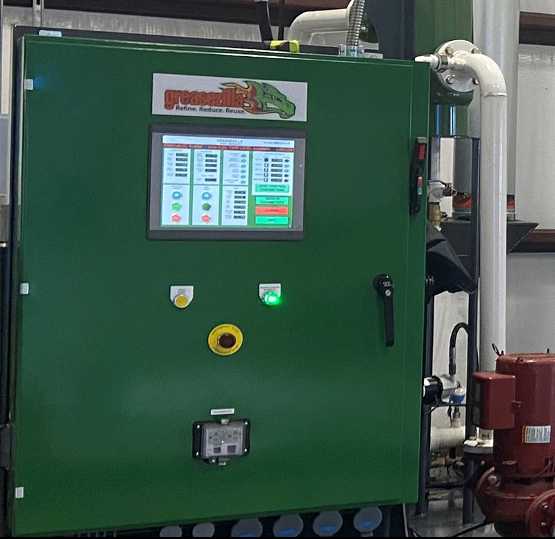 Greasezilla is equipped with a programmable logic controller interface